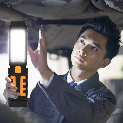 COB LED Work Light Magnetic Flashlight With Hook Folding Torch 3 Modes Choose