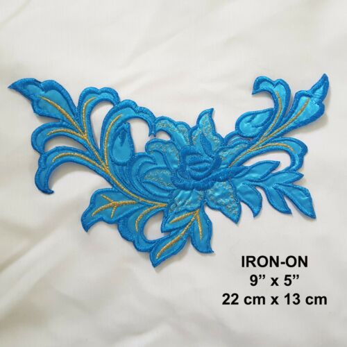Gold FLOWER Boho Sequined Iron-on Cosplay Patch Floral Embroidery Dress Applique