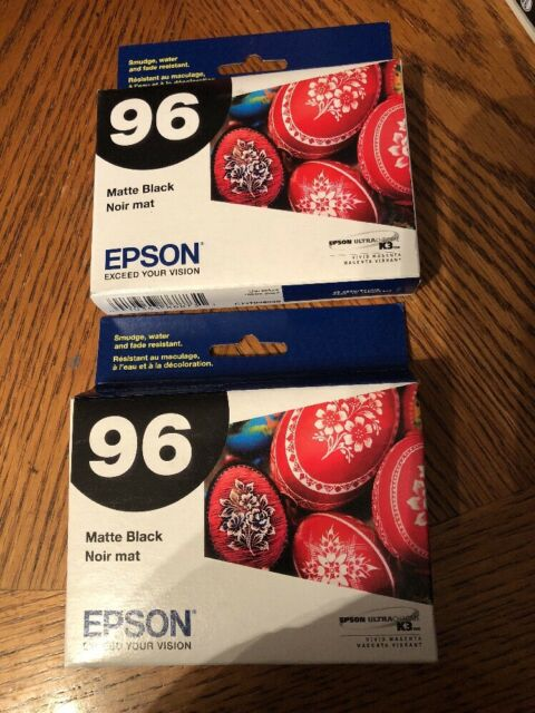 2 NEW Genuine EPSON 96 MATTE BLACK INK  T096820 Photo Printer EXP 06/2020