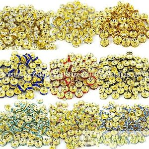 Czech-Crystal-Rhinestones-Gold-Rondelle-Spacer-Beads-4mm-5mm-6mm-8mm-10mm-12mm