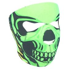 Neon Lime Green Goblin Skull Full Face Neoprene Mask ATV Biker Ski Costume Party