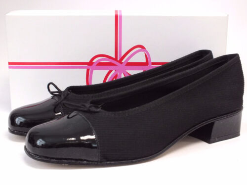 Uk 6 5 Ladies Eu40 nera London punta in scarpe pelle tacco Sole Stripe con Pin OCB7OFWP