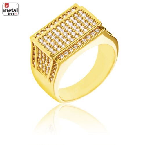 New Hip Hop 14k Gold Plated CZ Hand Set Band Flat Double Square Pinky Ring