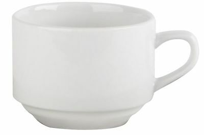 Simply 7oz20cl White Stacking Tea Cups x 6 Vitrified Hotelware Restaurant Cafe | eBay