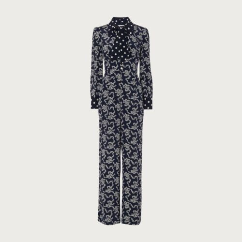 L.K.Bennett Mitford Bow Print Silk Jumpsuit
