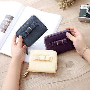 Women-Mini-Solid-Bow-Zipper-Coin-Short-Purse-Wallet-Card-Holders-Lady-Handbags