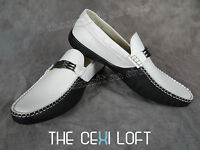 Mens Giovanni Italian Style Casual Dress Shoes 2-tone Faux Leather White Blk 812