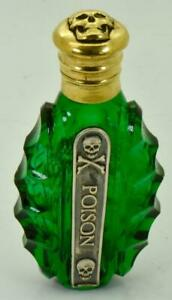 Rare-Victorian-green-Poison-bottle-Gold-plated-Skull-cap-Silver-warning-label
