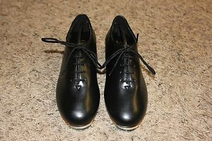 Trimfoot-Jazz-Clogging-Shoe-Black-with-Stevens-Stompers-Buck-Taps-Installed