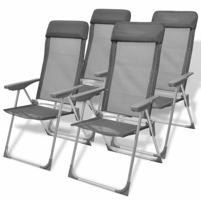 Excellent Vidaxl 4X Camping Chairs Aluminum Folding Gray Reclining Camp Outdoor Seat Inzonedesignstudio Interior Chair Design Inzonedesignstudiocom
