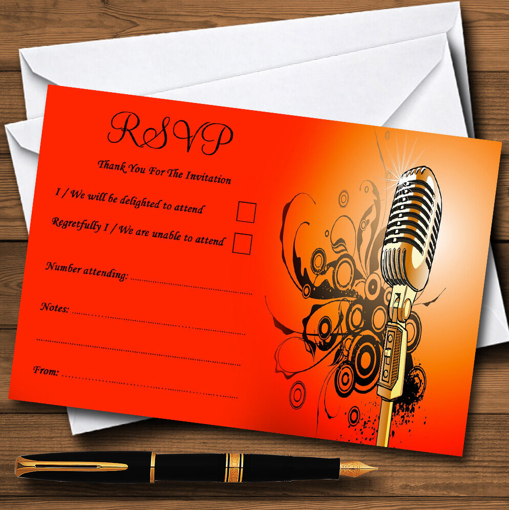 rot Orange Gelb Microphone Personalised Wedding or Party RSVP Cards