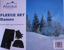 Damen Winter Fleece Set  Handschuh Schal u. Mütze