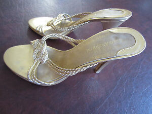 ENZO-ANGIOLINI-Gold-Woven-Leather-Heels-Slides-Sandals-Size-6-5M-EUC