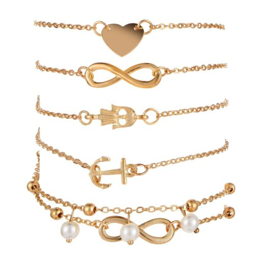 5Pcs//Set Fashion Womens Charm Attractive Ankle Bracelet Chain Beach Jewelry Chic