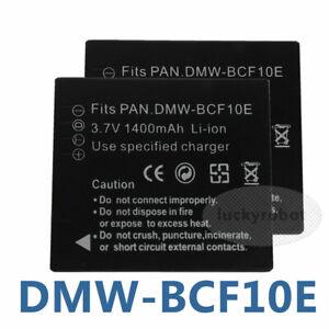 2X DMW-BCF10E Battery For Panasonic Lumix DMC-F2 CGA-S//106C TS4 FX75 FT4 FS9