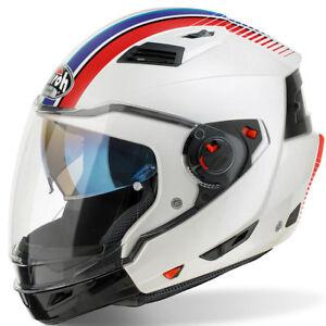 AIROH-EXECUTIVE-R-RAYAS-BLANCO-Modular-Motocicleta-Moto-Casco