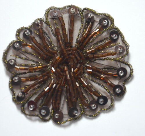 BROWN BEAD SEQUIN FLOWER TRIMMING Embroidered Sew On Patch Badge APPLIQUE