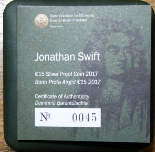 "IRELAND 15  EURO SILVER PROOF COIN 1917 /""GULLIVER/'S TRAVELS/"" JONATHAN SWIFT"