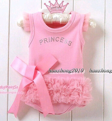 1pc Infant Baby Girls Princess Romper Dress Clothes Outfit 0-6Month