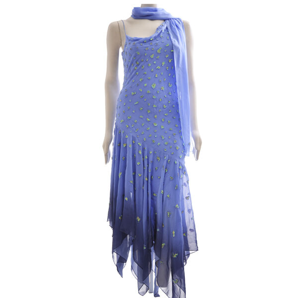 Weiß Designer Beaded Blau Dress Plus Shawl, Größe M, Retail