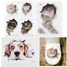 Cat Dog Toilet Seat Cover Lid Sticker Bathroom Wall Art Decoration Decal Novelty