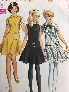 1968 Simplicity 7750 Vintage Sewing Pattern Womens Dress Size 10