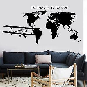 Wall mural world map atlas airplane quote to travel is to live vinyl la foto se est cargando mural de pared mapa del mundo atlas avion gumiabroncs Image collections