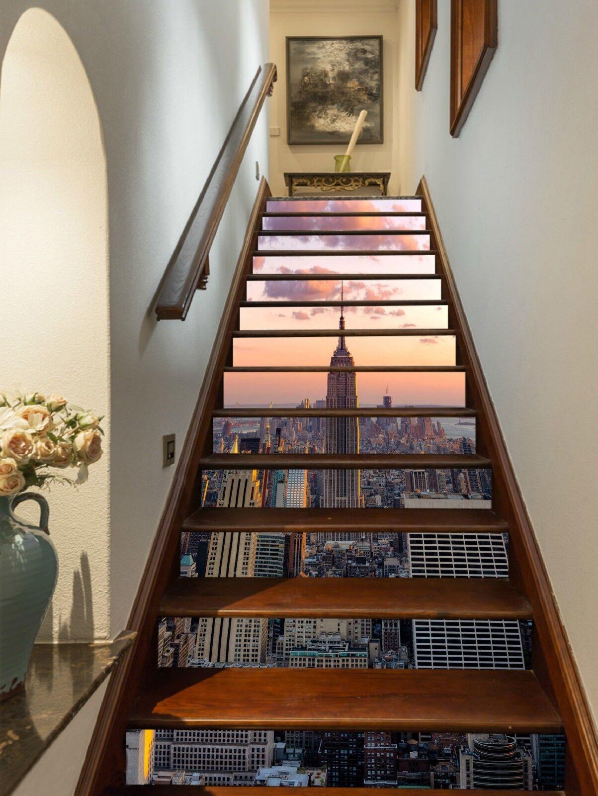 3D Nizza New York 1 Stair Risers Dekoration Fototapete Vinyl Aufkleber Tapete DE
