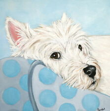 "West Highland Terrier Westie Matted Square Print ""Watching You"" Randall"