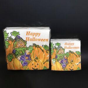 Vtg-Happy-Halloween-Tissue-Napkins-Scarecrow-Pumpkin-Jack-O-Lantern-Contempo-USA