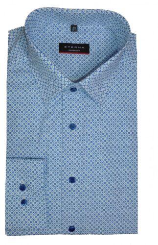 Eterna Camicia Modern Fit Blu//Bianco con Motivo 3533//12 x18p
