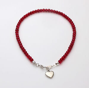 Red Crackle Glass Bracelet with heart charm