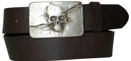 """4 cm FRONHOFER unisex belt  ~1.57 /"""" new skull buckleorganic leather 17614"""