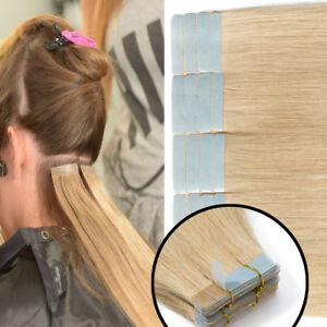 Invisible-Tape-in-100-Remy-Human-Hair-Extensions-Black-Brown-Blonde-Weft-AU