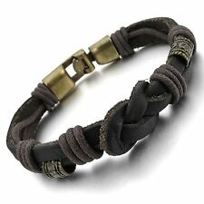 MENDINO Mens Leather Cord Bracelet Braided Rope Love Infinity Symbol Cuff Bangle