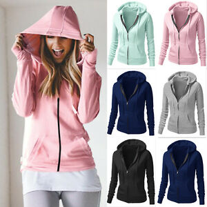 Women Casual Hoodie Sweatshirt Hooded Jacket Coat Hoody Zip Up Jumper Sport Tops