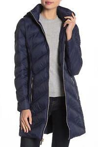 MICHAEL-Michael-Kors-Womens-Hooded-Long-Packable-Down-Puffer-Coat-M-True-Navy