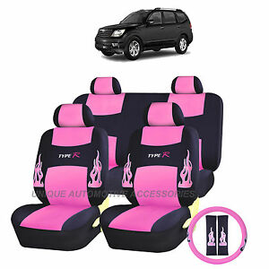 13pc flames pink black seat covers steering set for kia optima sedona ebay. Black Bedroom Furniture Sets. Home Design Ideas