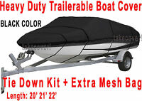 20' 21' 22' V-hull Fish/ski Trailerable Boat Cover All Weather Hd Black Color