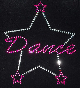 DANCE-3-STAR-pink-iron-on-hotfix-rhinestone-crystal-TRANSFER-patch-applique