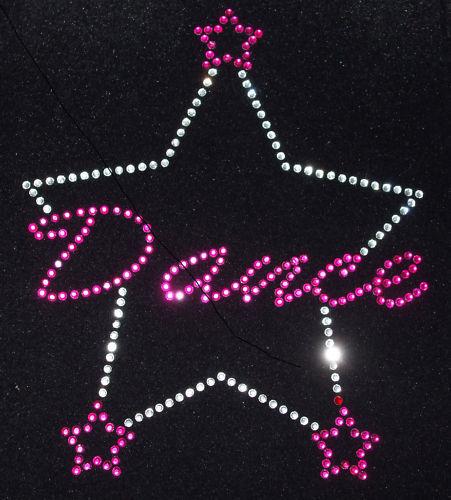 Dance 3 Estrellas Rosa Hierro-en Hotfix Estrás Cristal Apliques de parches de transferencia