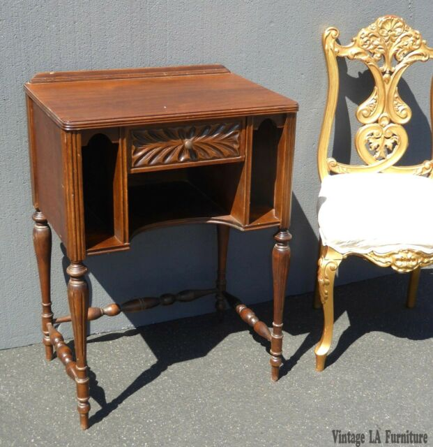 vintage antique side table w telephone or magazine rack occasional table - Antique Side Tables
