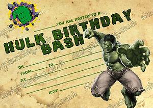 Detalles De Niños Fiesta De Cumpleaños Invitaciones Incredibale Hulk Súper Héroe Hulk 8 Tarjetas De Espesor Ver Título Original