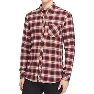 519680f87e6 New Mens WESC Slim Fit Rosewood Plaid Long Sleeve Button Front ...