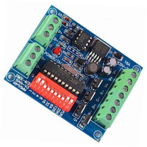 4CH Kanal DMX512 Decoder 16A RGBW Steuern LED Stage Lighting CMOS Output New