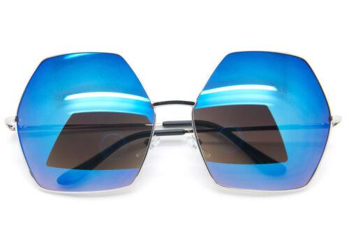 Oversized Women Fashion Sunglasses Hexagon Metal Frame Mirrored and Smoke Lens