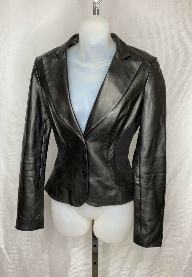 US4 Super Soft Leather Blazer Jacket Black Smart Fitted by Cache