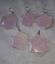 Rose Quartz Star David Stone Hexagonal Faceted Healing Reiki Gemstone Pendant