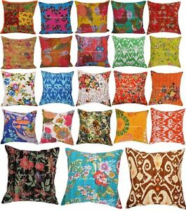 Set-Of-5-Pcs-Indian-Kantha-Cushion-Cover-16x16-Decorative-Throw-Sofa-Pillow-Case