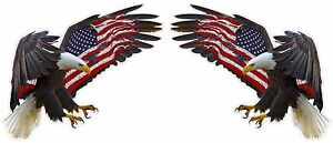 American-Eagle-American-Flag-Decal-Pair-12-034-each-in-size-Free-Shipping
